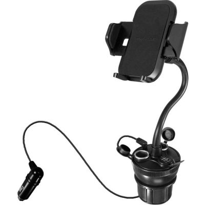 Macally Adjustable Car Cup Holder Phone Mount with 21W USB Charger and 2 CLA Sockets