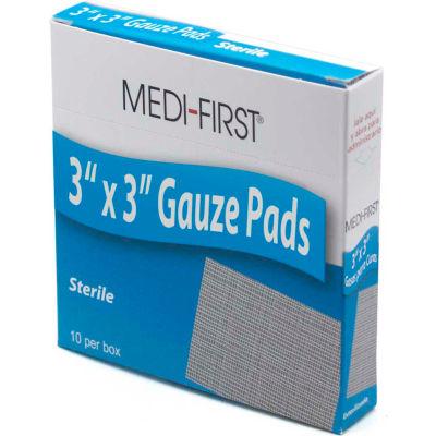 "Medi-First® Sterile Gauze Pad, 3"" x 3"", 10/Box, 61212"