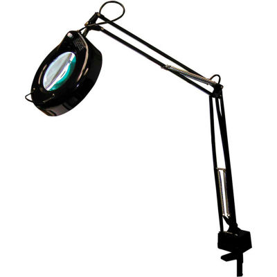 3-Diopter Fluorescent Magnifier Lamp w/ AC receptacle, Black