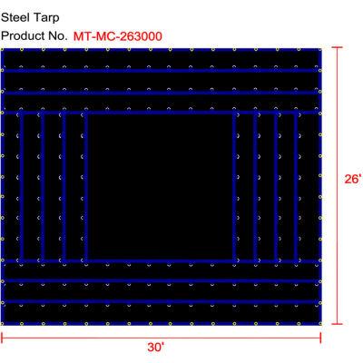 Xtarps, MT-MC18-B2630, Heavy Duty Flatbed Truck Tarp, Machinery Tarp, 26'W x 30'L, Black