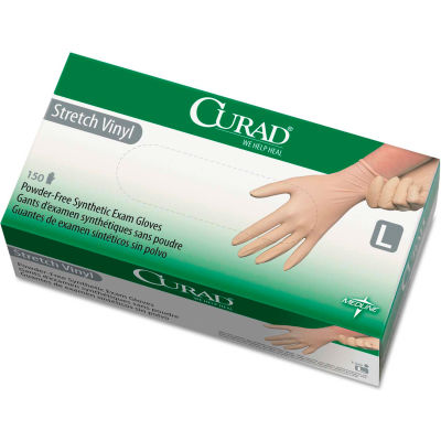 Curad® Medical/Exam Synthetic Vinyl Gloves, 5.1 Mil, Powder-Free, Large, White, 150/Box