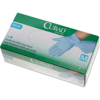Curad® Medical/Exam Nitrile Gloves, Powder-Free, Medium, 150/Box, CUR9315