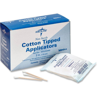 """Medline MDS202050 Non-Sterile Cotton Tipped Applicators, 3"""" Length, Box of 1000"""