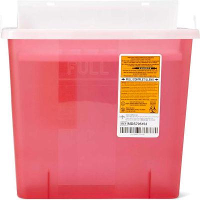Medline MDS705153H Biohazard Patient Room Sharps Container, 5 Quart, Red, 1 Each