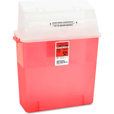"""Medline MDS705203H Biohazard Patient Room Sharps Container, 3 Gallon, 14""""W x 6""""D x 16""""H, Red"""