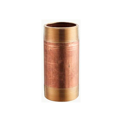 1/2 In. X 6-1/2 In. Lead Free Red Brass Pipe Nipple - 140 PSI - Import - Pkg Qty 25