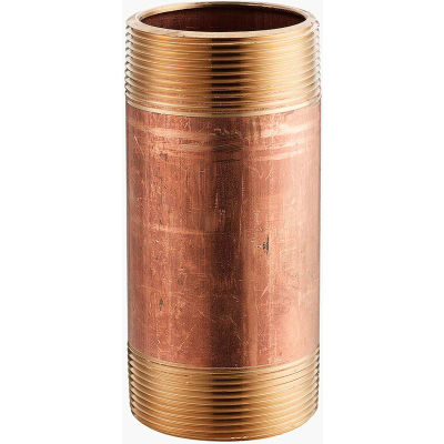 1 In. X 3-1/2 In. Lead Free Seamless Red Brass Pipe Nipple - 140 PSI - Sch. 40 - Import