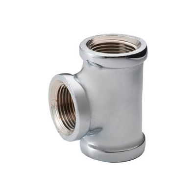Chrome Plated Brass Pipe Fitting 1/2 X 1/2 X 3/4 Reducing Tee Npt Female - Pkg Qty 25