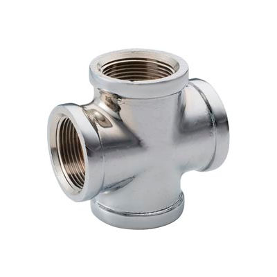 Chrome Plated Brass Pipe Fitting 3/4 Cross Npt Female - Pkg Qty 10