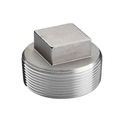 """Iso Ss 316 Cast Pipe Fitting Square Head Cored Plug 4"""" Npt Male - Pkg Qty 3"""