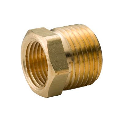 "Brass Yellow Barstock 3/4"" X 1/2"" Hex Bushing Npt Male X Female - Pkg Qty 25"