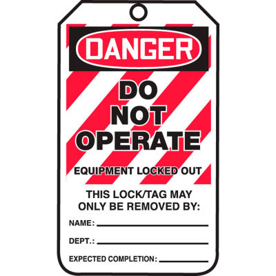 Accuform MLT405LTP Lockout Tag, Danger Do Not Operate, HS-Laminate, 25/Pack