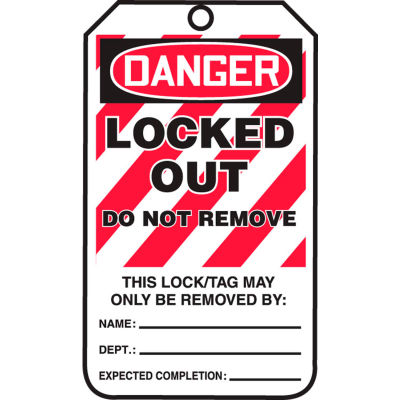 Accuform MLT418LTP Lockout Tag, Danger Locked Out Do Not Remove Tag HS-Laminate, 25/Pack