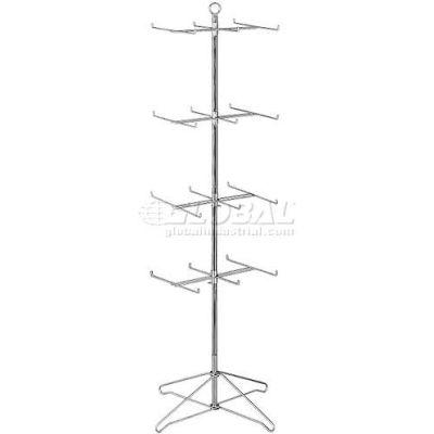 Marv-O-Lus Economy Spinner Rack W/ 24 Hooks, 4 Step Design, Black, 145-4BB2