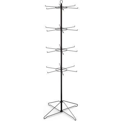 Marv-O-Lus Economy Spinner Rack W/ 24 Hooks, 4 Step Design, Black, 145-4EE2