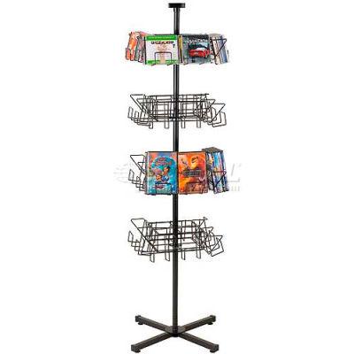 Marv-O-Lus Economical CD & DVD Floor Spinner Rack, 32 Pockets, Black, 172-4CD/DVD-8