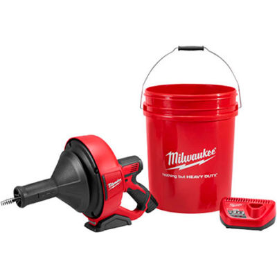 """Milwaukee® 2571-21 M12™ Drain Snake Cleaning Machine Kit W/5/16""""x25' Cable & 5 Gal Bucket"""