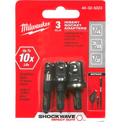 "Milwaukee® 48-32-5023 Shockwave™ Insert Sckt Adptr Set (1/4"", 3/8"", 1/2"")"
