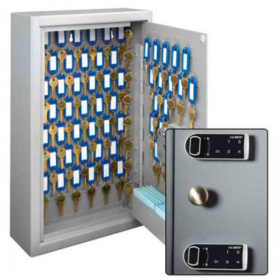 MMF STEELMASTER Heavy Duty 88 Key Safe Cabinet 20121088D01 Dual Control Electronic Combo Lock, Gray