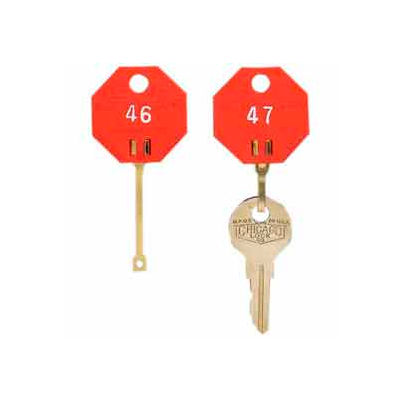 MMF Self-Locking Octagonal Key Tags 01800207 Plain, Pack of 20 Tags, Red