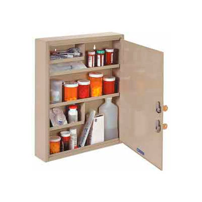 "STEELMASTER® Medical Security Cabinet, Double Key Locks, 14""W x 3-1/8""D x 17-1/8""H, Sand"