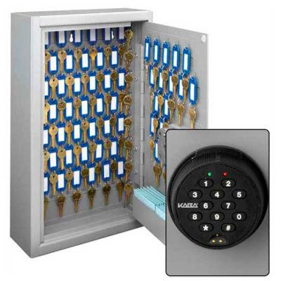 "MMF STEELMASTER Heavy Duty 88 Key Safe Cabinet 201SP8801 - Kaba Lock - 11""W x 4""D x 18""H, Gray"