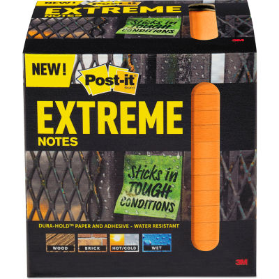 """Post-it® Extreme Notes Water-Resistant Self-Stick Notes, Orange, 3"""" x 3"""", 45 Sheets, 12/Pack"""