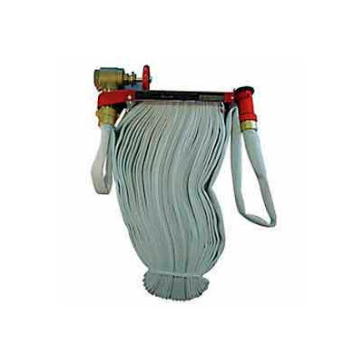 Fire Hose Pin Rack Unit - 1-1/2 In. X 75 Ft Hose - Brass Nozzle - Steel - Red