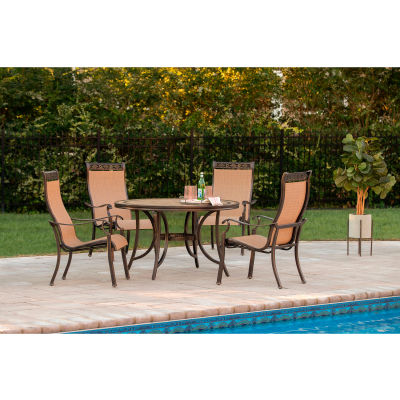"""Hanover Monaco 5-Piece Outdoor Dining Set with 4 Sling Chairs and 51"""" Tile-Top Table"""