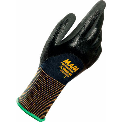 MAPA® Ultrane 525 Grip & Proof Nitrile 3/4 Coated Gloves, Light Weight, 1 Pair, Size 9, 525419