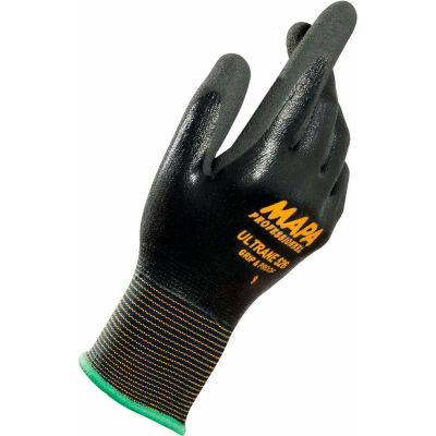 MAPA® Ultrane 526 Grip & Proof Nitrile Fully Coated Gloves, Lt Weight, 1 Pair, Size 8, 526418