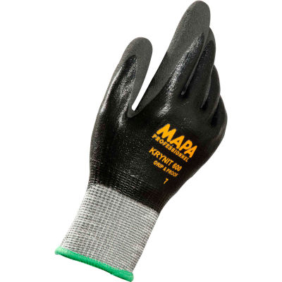 MAPA® Krynit Grip & Proof 600 Nitrile Fully Coated HDPE Gloves, Cut Level A2, 1 Pair, Size 7