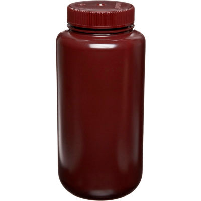 Thermo Scientific Nalgene™ Wide-Mouth Amber HDPE Bottles, 500mL, Case of 48