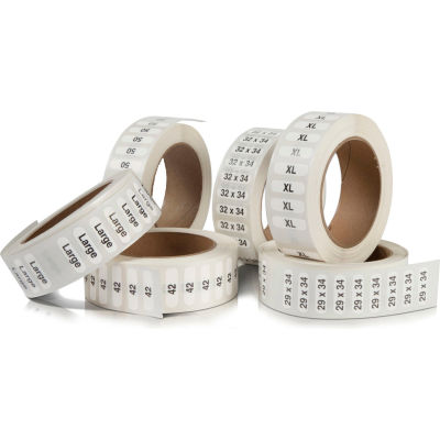 """31 X 36  Garment Label Clear w/Black print 1 1/4"""" x 5"""" Rolls 250/Roll"""