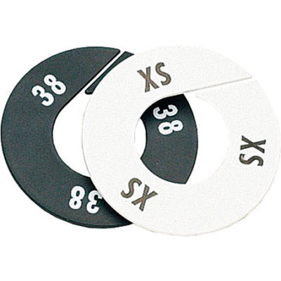 """S Round Garment Rack Divider, 3-1/2"""", White W/Black Print, 10/Pack"""