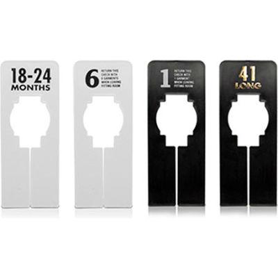 """27 Rectangular Garment Rack Divider, 5"""" x 2"""", White W/Black Print, 10/Pack"""