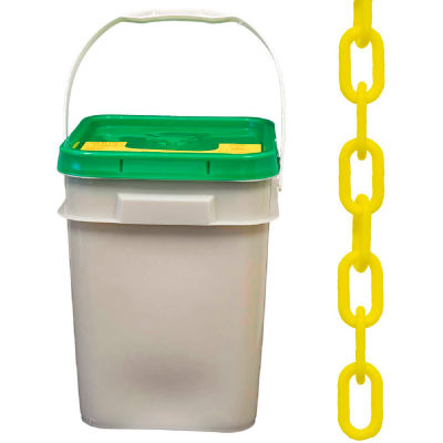 """Mr. Chain 30002-P Plastic Chain - 1-1/2"""" Links - In A Pail - Yellow - 300 Feet - Trade Size 6"""