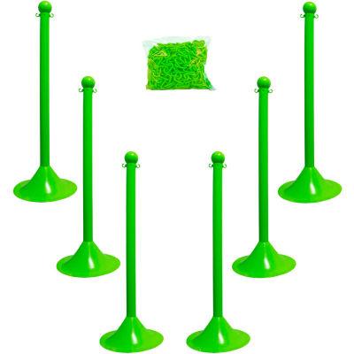 "Mr. Chain 71014-6 Plastic Stanchion Kit, Safet Green, 6pk 50' of 2"" Chain, 2"" Pole, 14"" Base, 41""H"