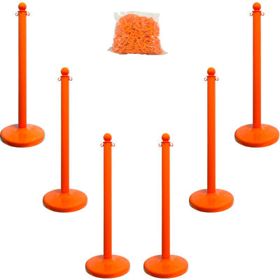 "Mr. Chain 71112-6 Plastic Stanchion Kit, Orange, 6pk 50' of 2"" Chain, 2.5"" Pole, 14"" Base, 40""H"