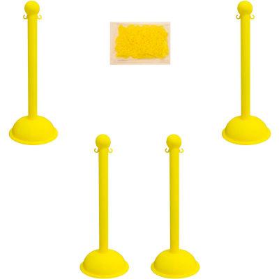 "Mr. Chain 71302-4 Plastic Stanchion Kit, Yellow, 4pk 30' of 2"" HD Chain, 3"" Pole, 16"" Base, 41""H"