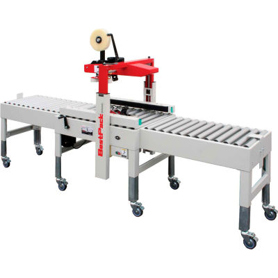 "BestPack™ MSD22 Complete System w/ 3"" Head, Conveyors, Legs, Box Stabilizer, Stopper & Casters"
