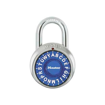 "Master Lock® No. 1572BLU 3-Letter-Combo Padlock 3/4"" Inside Shackle HT, Control Chart,Blue Dial"
