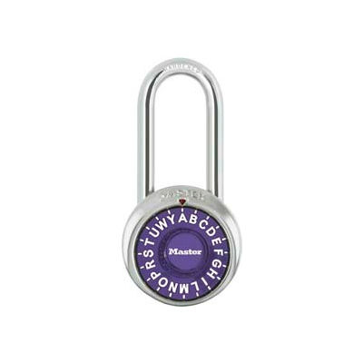 "Master Lock® 1572LHPRP 3-Letter-Combo Padlock 2"" Inside Shackle HT, Control Chart,Purple Dial"