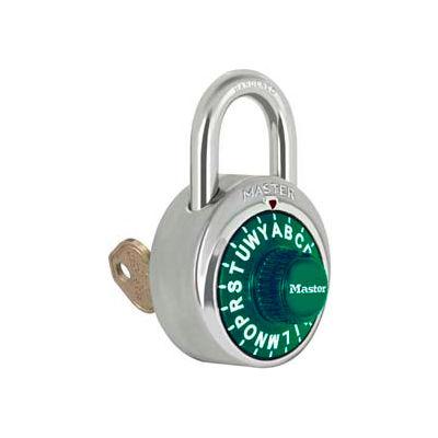 "Master Lock® No. 1585GRN 3-Letter-Combo Padlock 3/4"" Inside Shackle HT, Key Override,Green Dial"