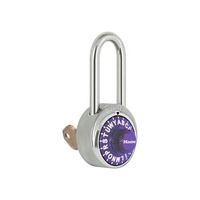 "Master Lock® 1585LHPRP 3-Letter-Combo Padlock 2"" Inside Shackle HT, Key Override, Purple Dial"