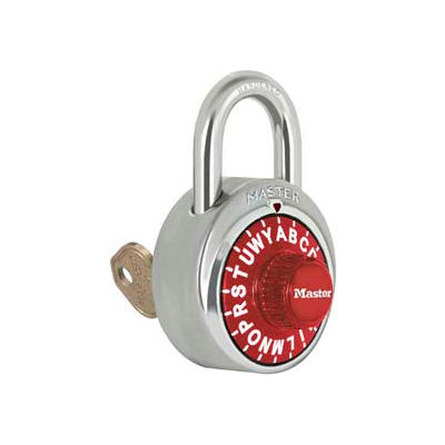 """Master Lock® No. 1585RED 3-Letter-Combo Padlock 3/4"""" Inside Shackle HT, Key Override, Red Dial"""