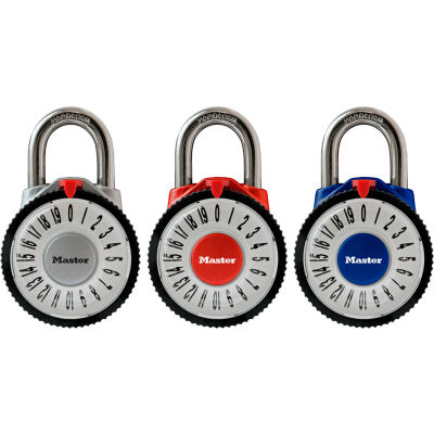 """Master Lock® No. 1588D Magnification Combination Dial Padlock 7/8"""" Shackle - Assorted Colors"""