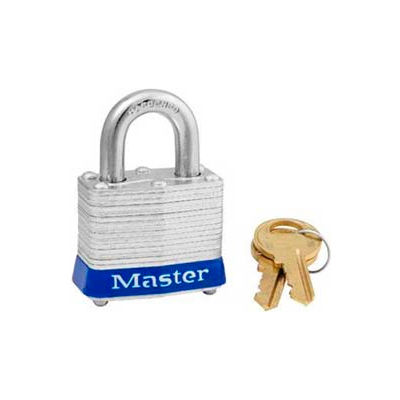 "Master Lock® Steel Padlock, No. 3 Reinforced Laminate, 1-9/16""W X 3/4"" Shackle, Blue"