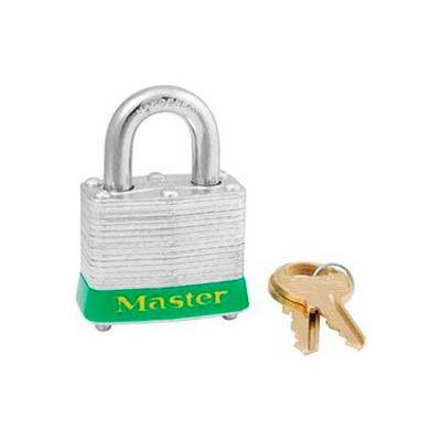 "Master Lock® Steel Padlock, No. 3 Rfd Laminate, 1-9/16""W X 3/4"" Shackle, Green"