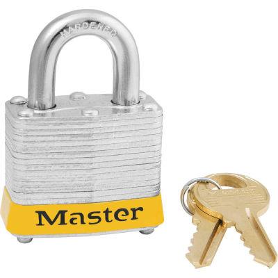 "Master Lock® 3KAS12YLW Laminated Steel Safety Padlock, 1-9/16""W x 3/4""H Shackle, Yellow, 12/Set"
